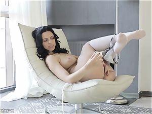 chesty sweetheart from Russia Kira goddess showcases her stylish slit