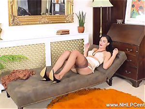 buxomy dark haired strokes off in antique nylons garter stilettos
