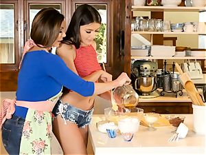 Kendra passion and Adria Rae all girl action in the kitchen