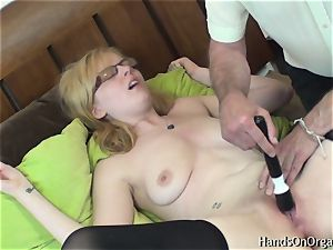 insatiable platinum-blonde Gets Help wanking to climax