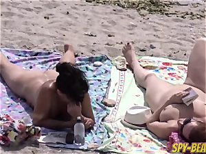 naked Beach mummy first-timer voyeur Close Up cunt And booty