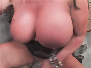 big-chested slut Kerry Louise gets plunged rock hard and earns a hefty geyser of hot jism