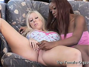 interracial lesbian onanism and Real climaxes