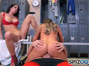 Nikki Benz and Jessica Jaymes pummel man sausage in the locker room