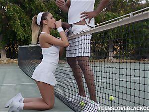 August Ames getting ebony meat in her teenage minge