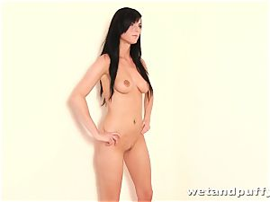 Raven haired beauty with ultra-cute all-natural hooters