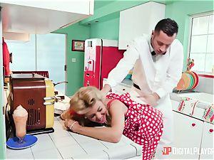 Kayla Kayden milking the milkman