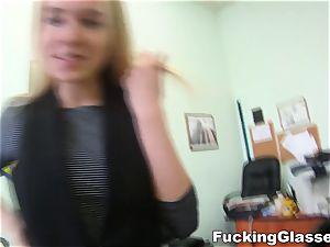 smashing Glasses Chloe Blue pounding job interview