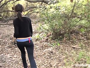 milf inhales and smashes in the woods