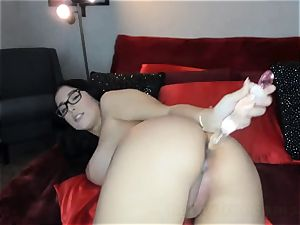 jaw-dropping cool black-haired pumping out Her cunt