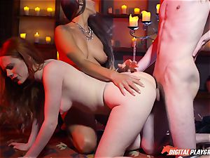 spunk swallowing 3some with sexy Ella Hughes and uber-sexy babe Mea Melone