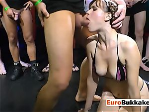 european biotch gets peed on while deep-throating boys s puckers
