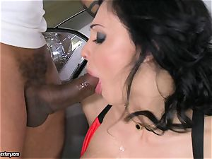 stunning Aletta Ocean plays with a dark-hued manhood in her slimy hot throat