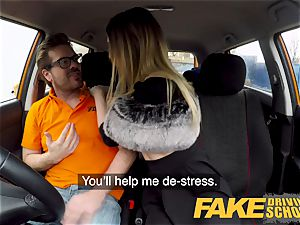 fake Driving school diminutive learner with small funbags