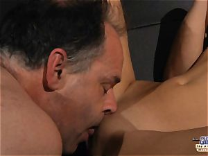 kinky towheaded loves to get fucked and inhales off granddad