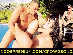 CROWD bondage Outdoor pool bang-out for steamy Loren Minardi